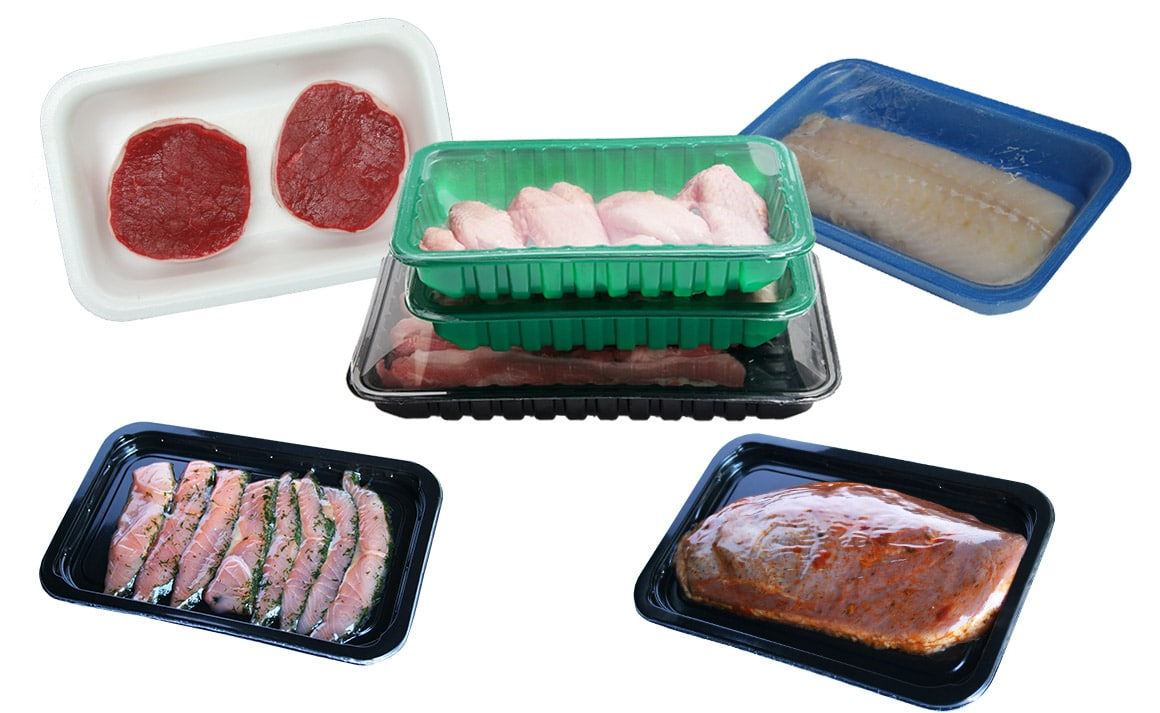 Premium tray sealers Guelt - Examples of trays packed under modified atmosphere or skin