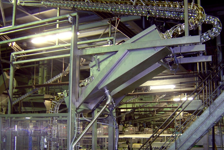 Guelt Canning - Conveyance of cans  empties by wire chutes