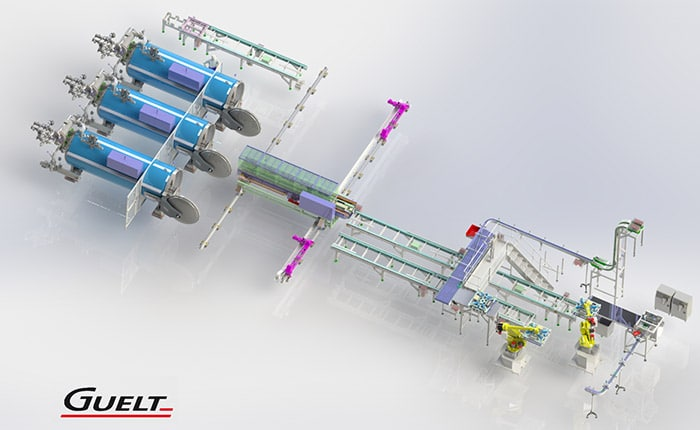 3D conception of a loading/unloading retort rack line - Guelt