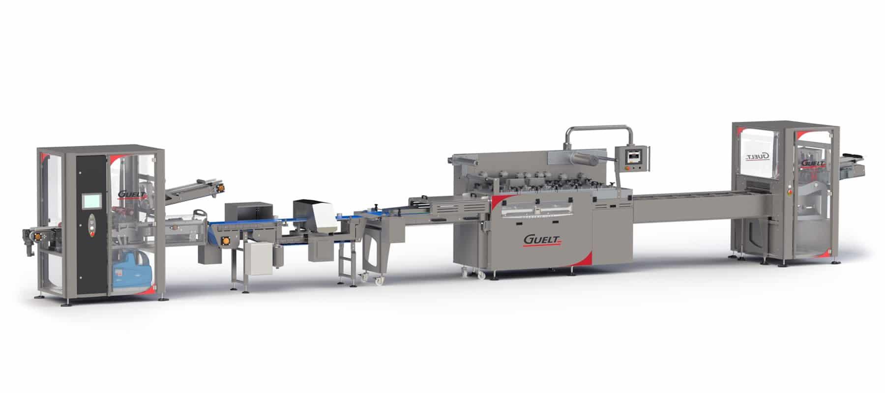 Operculeuse automatique Operskin 6600 intégrée dans une ligne d'emballage complète
