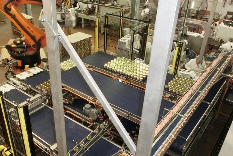 Produits appertisés process conserverie - Ilôt de palettisation robotisé - Guelt