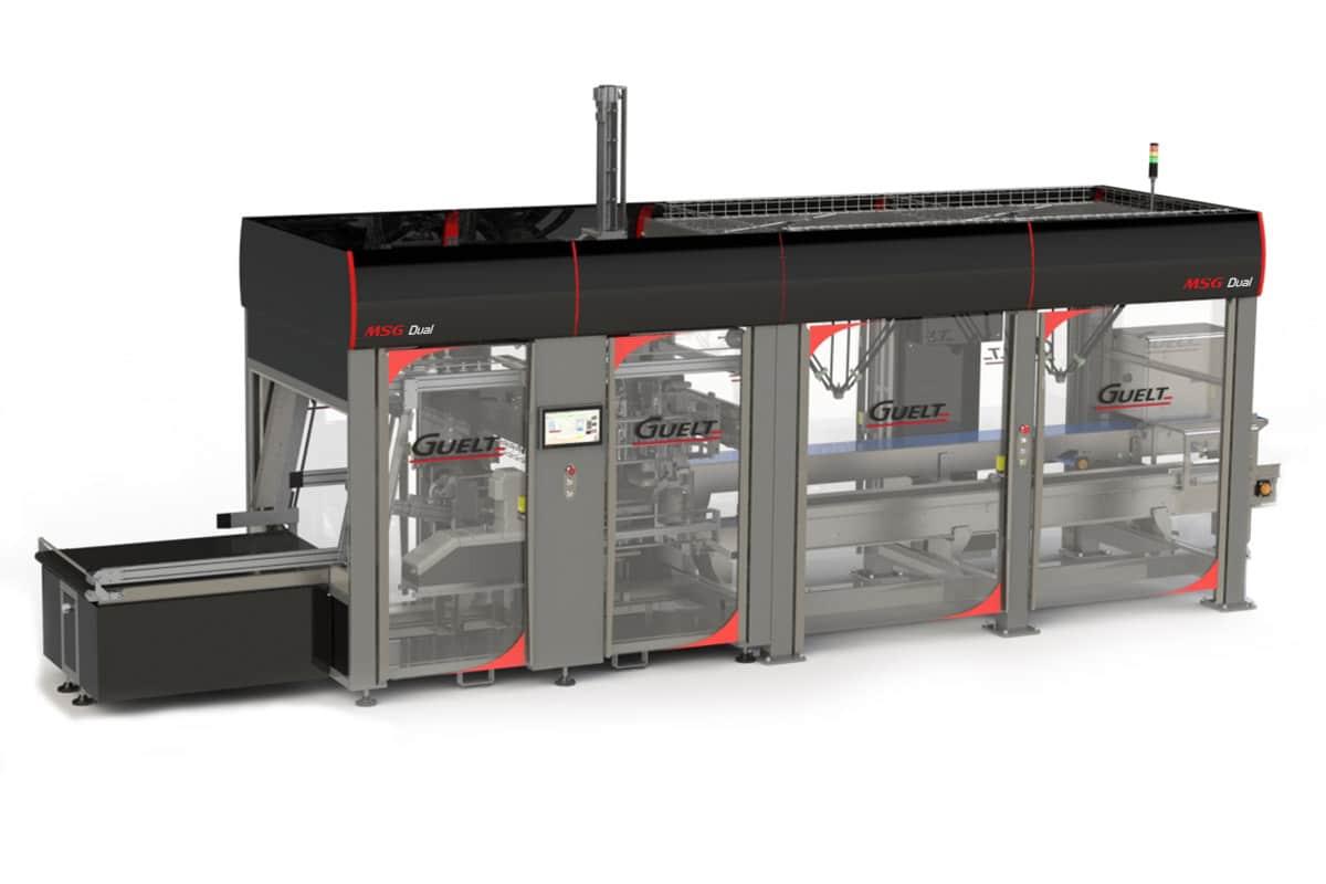 MSG Dual, module associant formeuse de caisses et encaissage robotisé présenté ici en option double robot - Méca-Système et Guelt