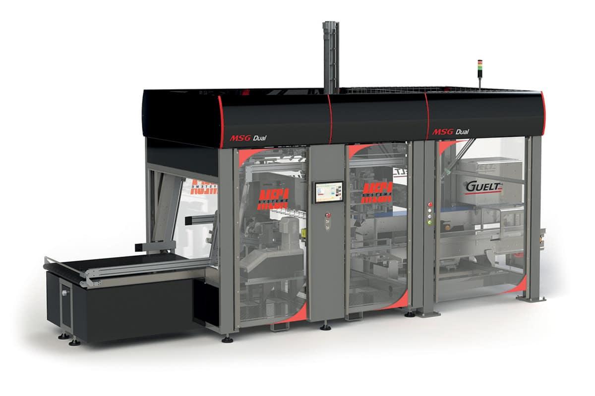 MSG Dual, module associant formeuse de caisses et encaissage robotisé top load par Méca-Système et Guelt