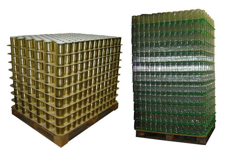 Palette de boites rondes & palette de bocaux