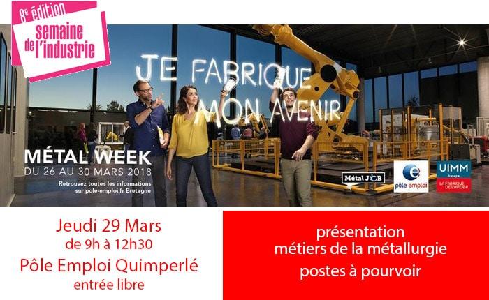Semaine de l'Industrie - 29 mars à Pole Emploi Quimperlé - présentation des postes à pourvoir