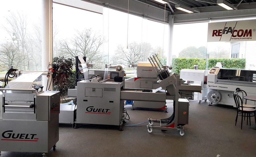 Machines de conditionnement Guelt en exposition chez Refacom Belgique