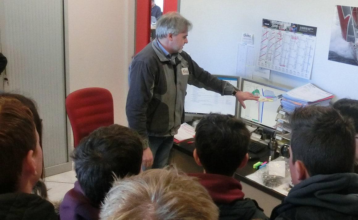 Marc présente la branche Guelt Nautic aux collégiens en section voile
