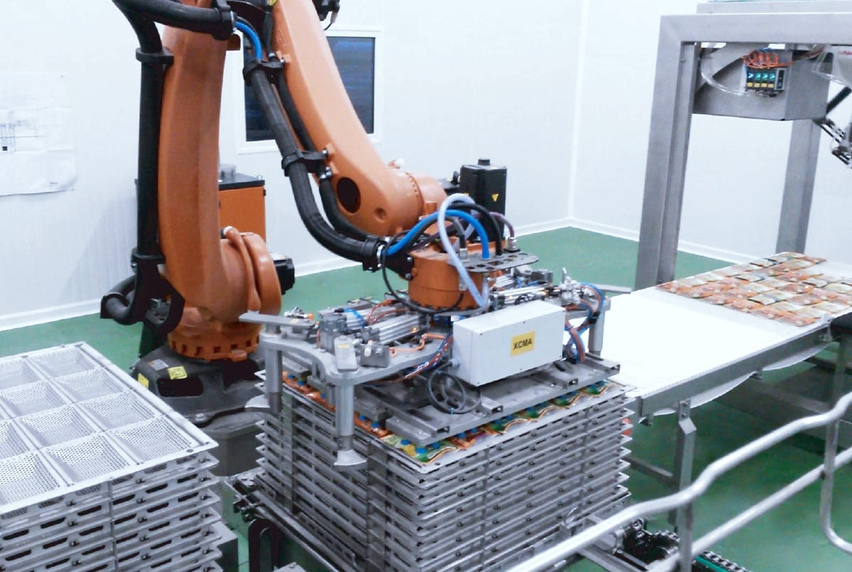 Guelt Canning - Robotic Canning Machine of  doypacks associated with a picking module  upstream