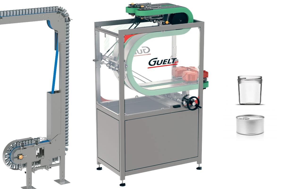 Guelt Canning - Equipment of  transfer - Magnetic Descender,  Conveyorized decenser and turner  pinch